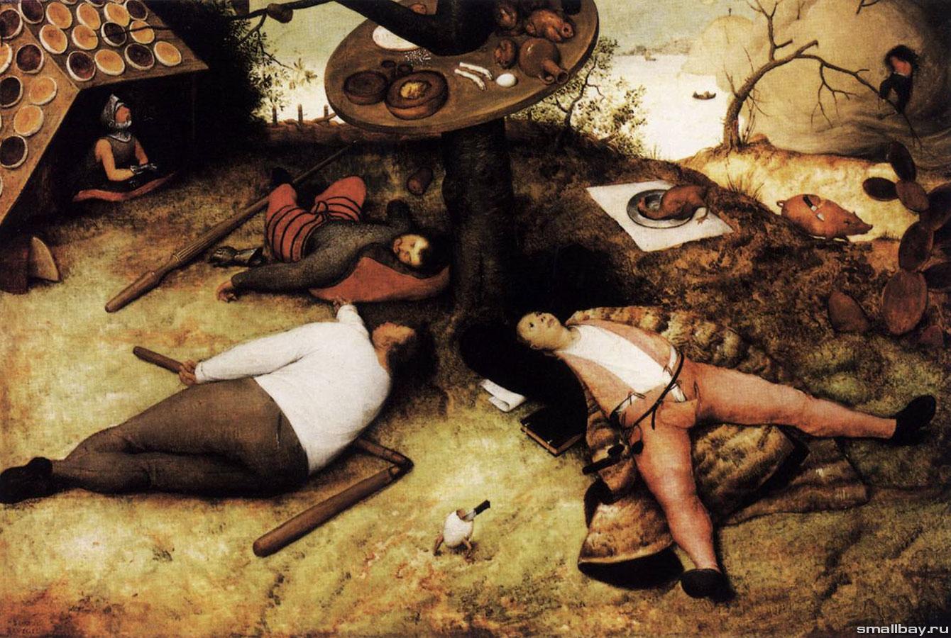 Картинки по запросу Фрагмент картины Питера Брейгеля «Страна лентяев»