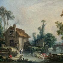 Буше Пейзаж с водяной мельницей