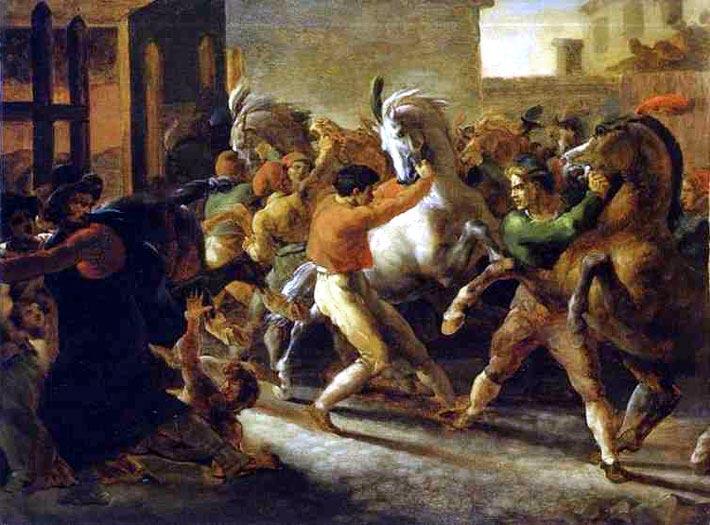 Бег свободных лошадей в Риме,
