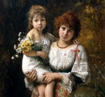 Мать с дочерью на руках