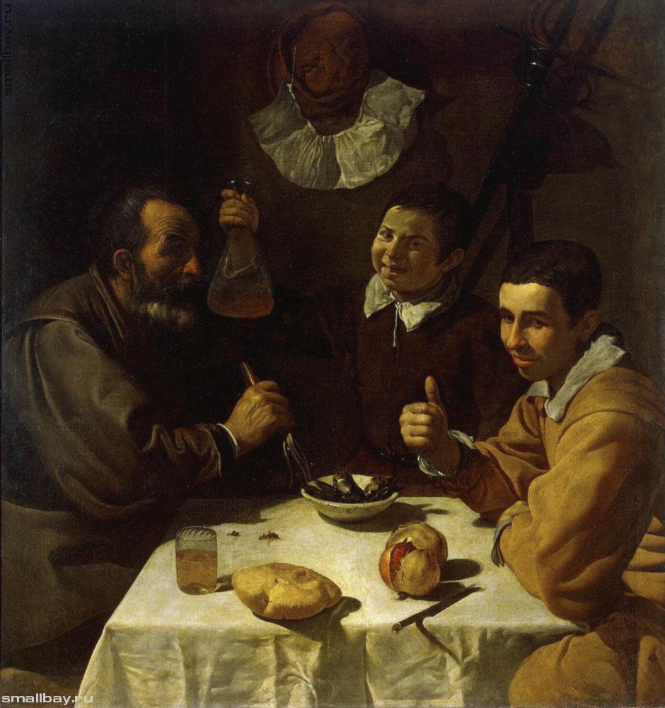 Трое мужчин за столом. Картина Диего Веласкеса.