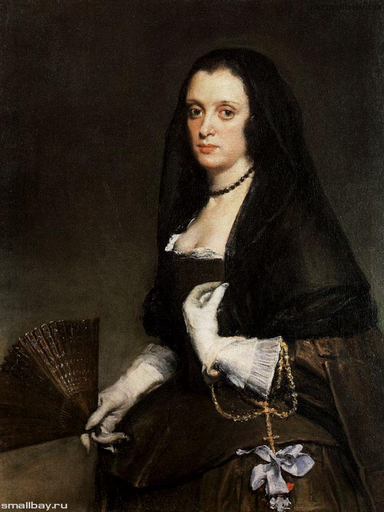 Портрет дамы с веером. Картина Диего Веласкеса.